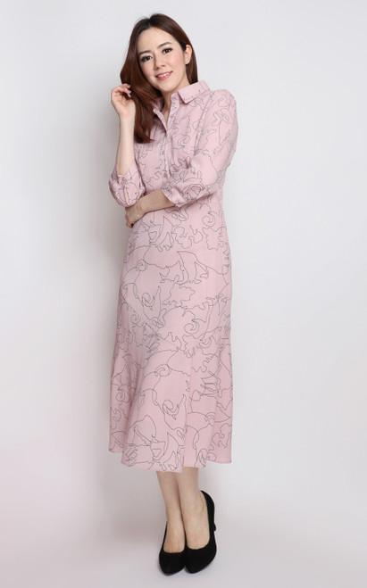 Abstract Print Midi Dress - Dusty Pink
