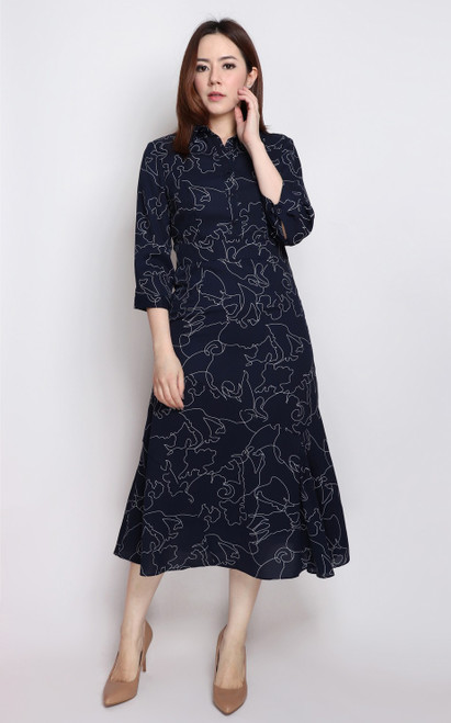 Abstract Print Midi Dress - Navy