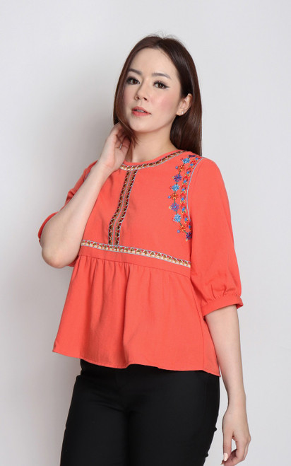 Embroidery Babydoll Top - Orange