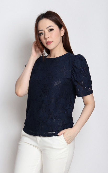 Tulip Sleeves Lace Top - Navy