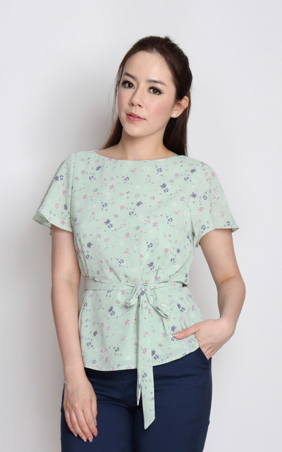 Floral Print Boatneck Top - Mint