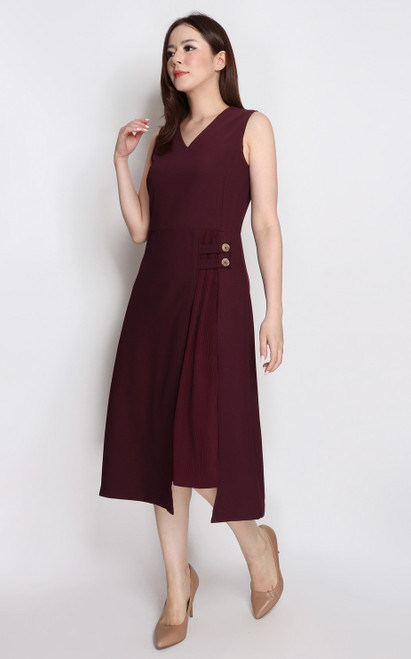 Side Pleat Panel Dress - Burgundy