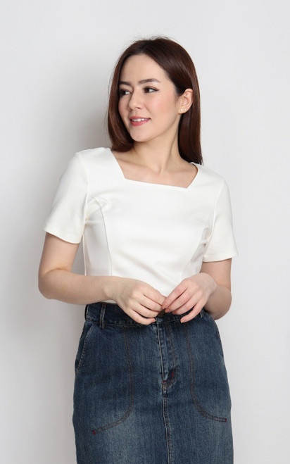 Basic Square Neck Top - White