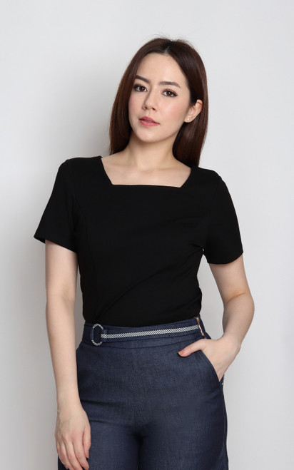 Basic Square Neck Top - Black