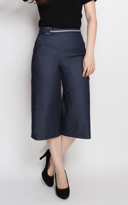 Belted Denim Culottes