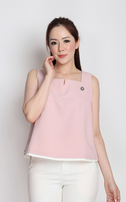 Notch Neck Trapeze Top - Pink