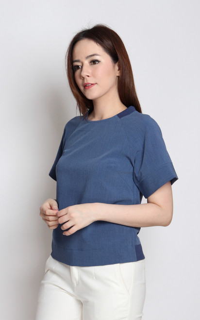 Raglan Sleeves Top - Blue