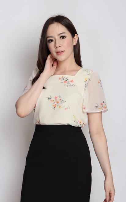 Floral Print Square Neck Top