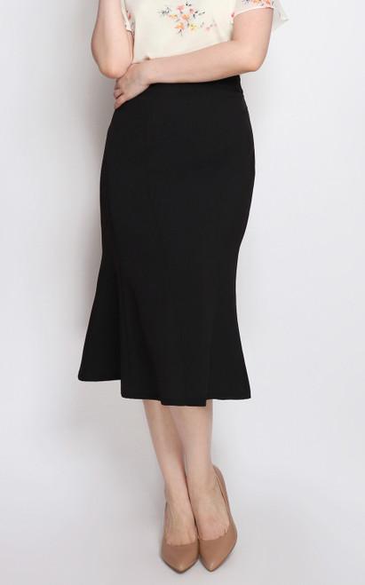 Flute Hem Pencil Skirt