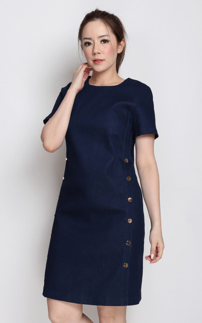 Side Buttons Denim Dress