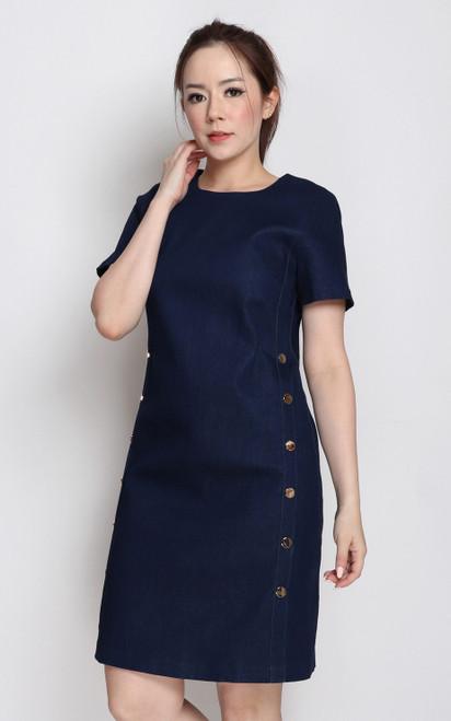 Side Buttons Denim Dress