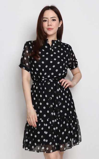 Polka Dot Silk Chiffon Dress