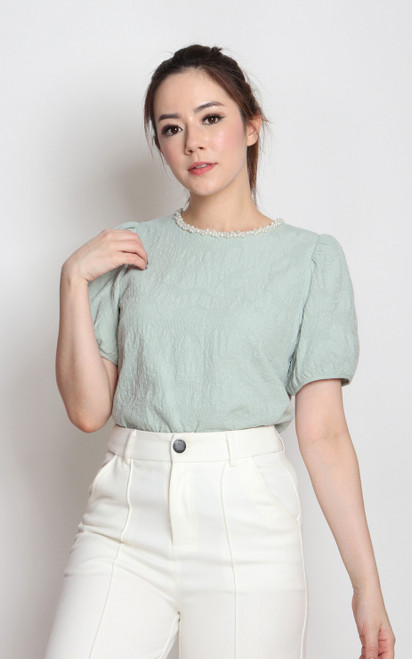 Pearl Trim Textured Top - Seafoam
