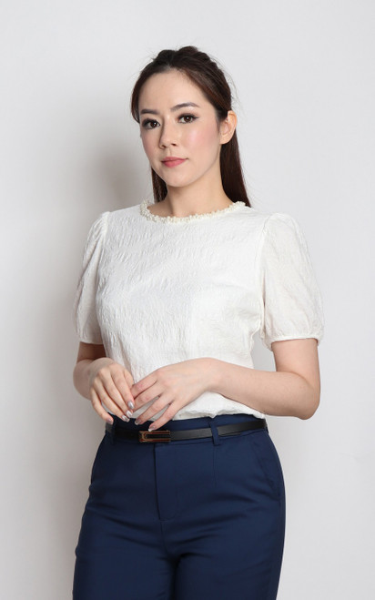 Pearl Trim Textured Top - White