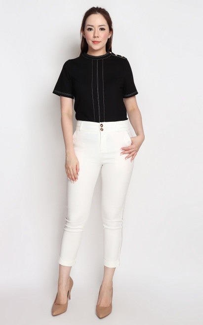 Contrast Stitch Buttons Top