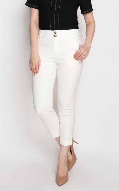 Skinny Cigarette Pants - White