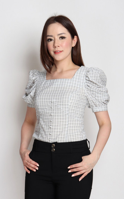 Gingham Puff Sleeves Top - White