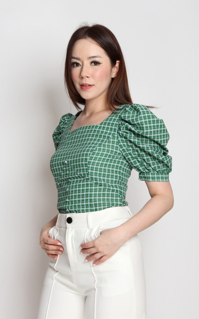 Gingham Puff Sleeves Top - Green