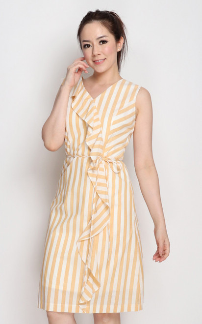 Ruffled Linen Dress - Almond