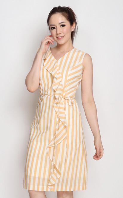 Ruffled Linen Dress - Almond