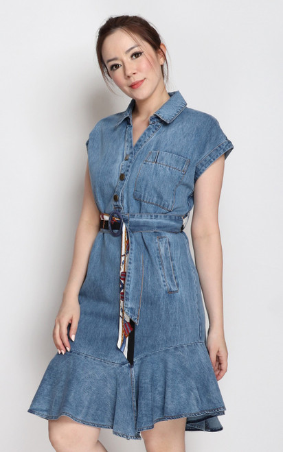 Denim Flounce Dress
