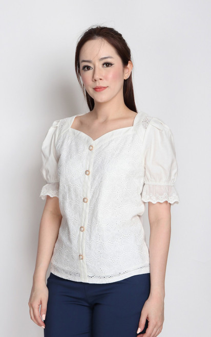 Sweetheart Neck Eyelet Top