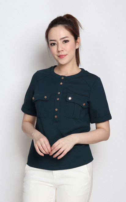 Pockets Tee Top - Teal