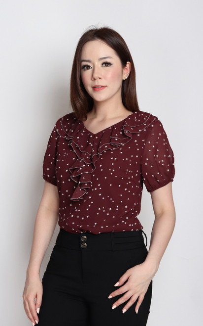 Star Print Ruffle Top