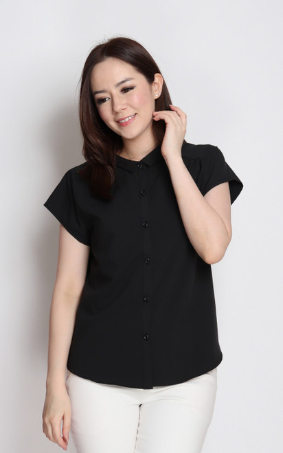 Slim Collar Button Up Top - Black