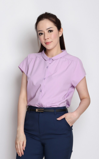 Slim Collar Button Up Top - Lilac