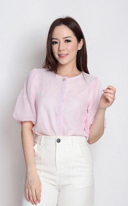 Striped Puff Sleeves Top - Pink