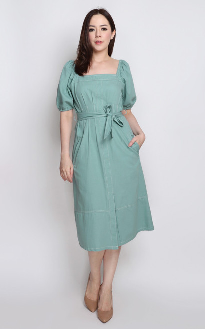 Square Neck Dress - Seafoam