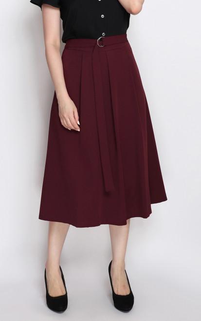 D-Ring Flare Skirt - Burgundy