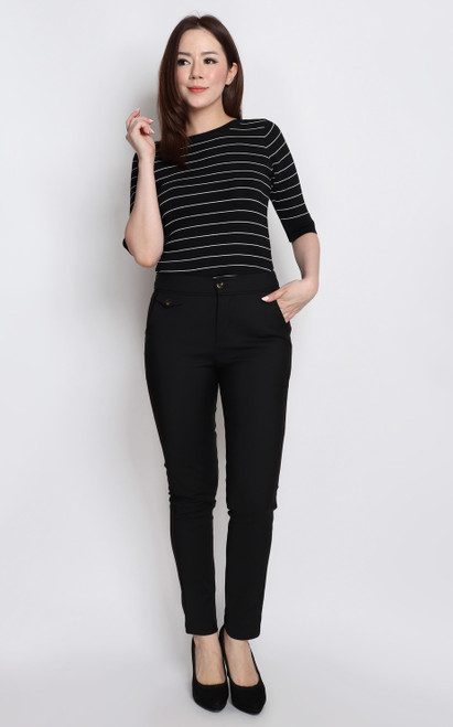 Trimmed Pencil Pants - Black