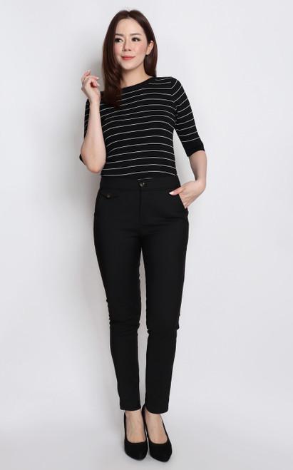 Trimmed Pencil Pants - Black