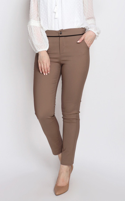 Trimmed Pencil Pants - Mocha