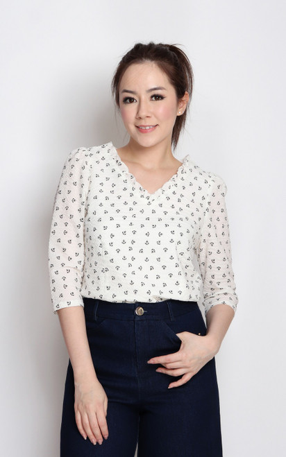 Anchor Print Textured Top - White