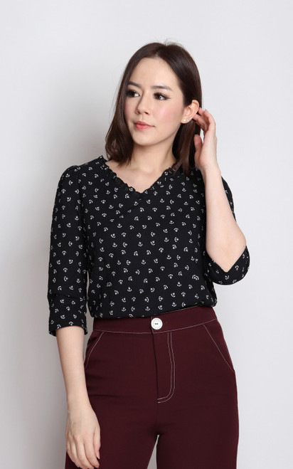 Anchor Print Textured Top - Black