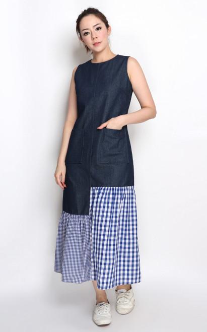Gingham Denim Midi Dress