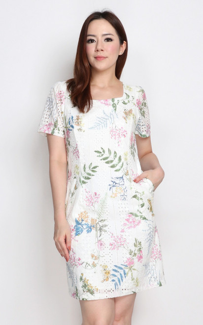 Square Neck Floral Eyelet Dress