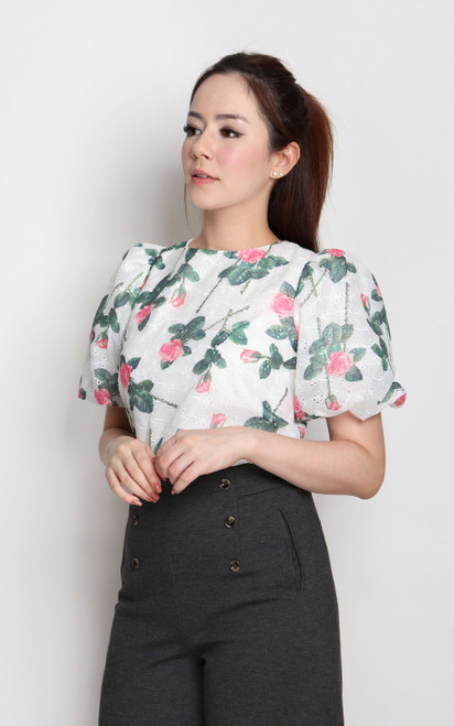 Rose Print Puff Sleeves Top