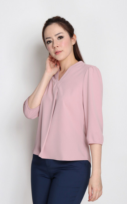 V-Neck Pleat Top - Dusty Pink