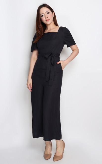 Puff Sleeves Linen Jumpsuit - Midnight Blue