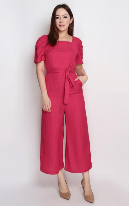 Puff Sleeves Linen Jumpsuit - Cerise
