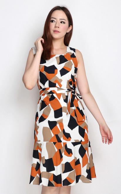 Abstract Block Print Dress - White