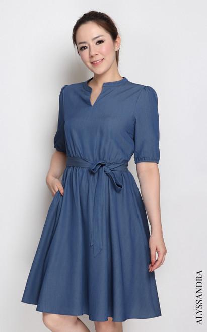 Mandarin Collar Chambray Dress