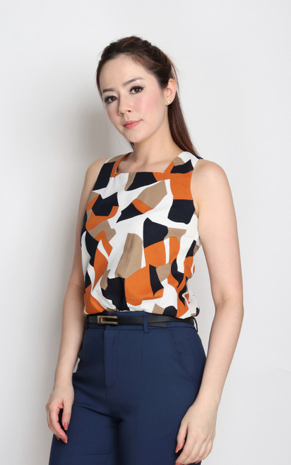 Abstract Block Print Top - White