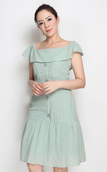 Eyelet Ruffle Hem Dress - Mint