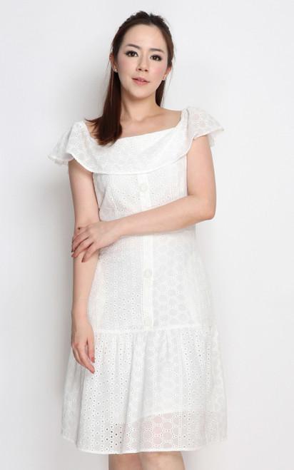 Eyelet Ruffle Hem Dress - White