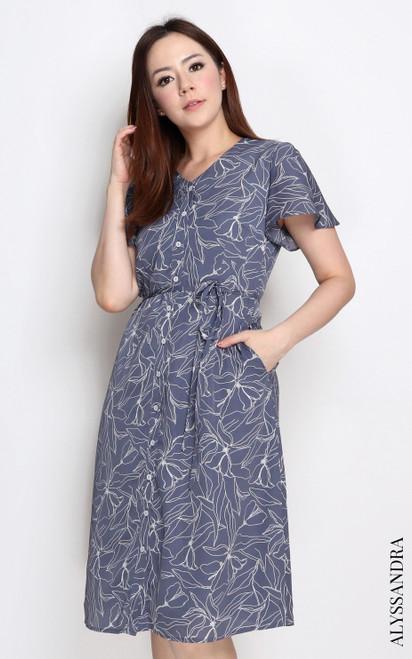 Floral Stencil Flutter Sleeves Dress - Periwinkle Blue